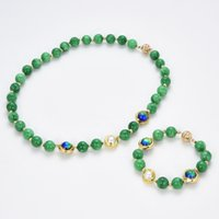 GuaiGuai Jewelry Natural Freshwater Cultured Keshi Pearl Green Round Jade Gold Blue Murano Glass Necklace Bracelet Sets For Women