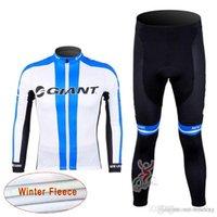 Giant Team Cycling Winter Thermal Fleece Jersey (Bib) Pantaloni Set di Pantaloni a maniche lunghe Bicicletta Sportswear Gel Pad C1209