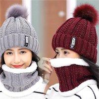 8 Renk Kış Örme Beanies Şapka Kadın Kalın Sıcak Beanie Skullies Kadın Örgü Mektubu Bonnet Beanie Kapaklar Açık Sürme Setleri