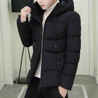 ymwmhu 패션 따뜻한 파카 남자 긴 소매 후드 칼라 겨울 두꺼운 재킷 스트라이프 지퍼 스트리트웨어 남자 파카 플러스 크기 210222
