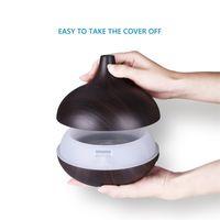 Ultrasuoni silenzioso per uso domestico 400ml Aroma Diffusore di olio essenziale 7 colori Changeable LED Smart Gruno di legno Diffusore di olio essenziale 283 S2
