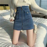 각각 여성 높은 허리 트위드 스커트 여성 가을 겨울 패션 프론트 지퍼 슬림 라인 미니 스커트 여성 섹시한 한국어 바닥 치마 210225