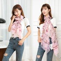 2021 rectangular Korean scarf female Chiffon Yourou yarn beach sunscreen flower silk scarf shawl