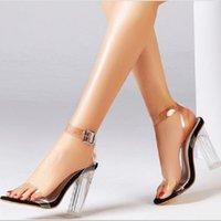 2020 Женщин Санссаллы Прозрачные Сексуальные Сандалии на высоком каблуке Женские Летние Обувь Обувь Лодыжка Пряжка Насосы 10 см Каблуки Большой Размер 43 Y0305