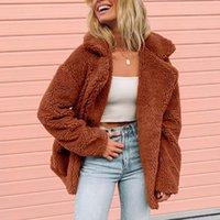 Women's Jackets Coat Warm Faux Fur Jacket Winter Solid Parka Outerwear Moletom Feminino Inverno Long Sleeve Mujer Chaquetas Veste L809