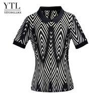 Women's T-Shirt Yitonglian Plus Size Blouse Shirt Lapel Black And White V Irregularly Stripe Female Casual Tops W003