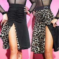 무대 착용 표범과 검은 색 두 측면 라틴 댄스 드레스 여성 스커트 볼룸 탱고 차 차 밸리 댄스 PerformAmnce DL611