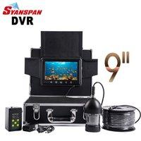 Syanspan Unterwasserfischerei-Videokamera 9 Zoll 20m 50m Fischfinder IP68 wasserdicht 36 LEDs 360 Grad rotierende Kamera