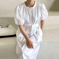 Casual Dresses Korea dressed female Korean summer stylish soft neck singlet buckle hollow hook bubble flower dress 59DE