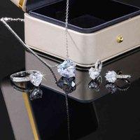 Наборы ювелирных изделий Huiran Crystal Crystal Heart Cubic Cubic Cubicion Ring / серьги / ожерелье свадебные свадебные обруча роскошных аксессуаров романтический набор