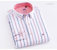 Mens Striped Shirts Cotton Oxford Long Sleeve Plaid Solid Color Casual Shirt for Business Men Daily Use Camisas Hombre Plus size Dress