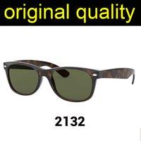 En Kaliteli Rays 2132 55mm Güneş Gözlüğü Erkekler Kadınlar Güneş Gözlükleri Gerçek Naylon Çerçeve Malzeme ile Cam Lensler Erkek Sunglass