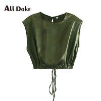 Frauen Blusen Hemden ALL DOKE SUMMER 2021 Grüne Frauen Oansatz Sleeveless Lace-up Bow Aushöhlen Casual Corp Top Blusas De Mujer Bluse FE