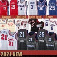 Tyree 0 MAXEY MENUS JOEL 21 EMBIID SIGNIERSJersey Ben 25 Simmons 76ERVille Allen 3 Iverson Black Edition Basketball Jerseys