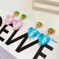 Colored Glaze Love Earrings Niche Design Sweet Peach stud Heart Personality Temperament Ins Trend Fashion High-End Jewelry