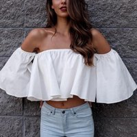 Women's T-Shirt Women Fashion Casual Summer Shirts Ropa Mujer Ladies Off Shoulder Ruffle Sleeve Pullover Top 2021