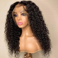 T Part Kinky Curly Lace Front Wig Natural Color Synthetic Long Wigs Heat Resistant Fiber Hair PrePlucked Water Wave Headband Wigss Synthetics