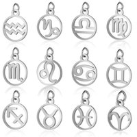 11mm Stainless Steel 12 Zodiac Sign Charms DIY Constellation For Women Jewelry Making Mini Charms 10pcs  lot