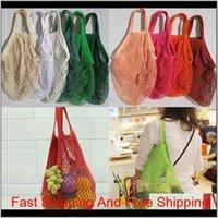 Reusable Shopping Grocery Bag String Mesh Bags For Fruit Vegetables Woven Cotton Shoulder Bag Hand Totes Home Storage Bag Hh7-1204 Bon Nvuvw