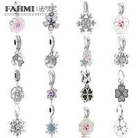 FAHMI 100% 925 Ayar Gümüş 1: 1 Charm Kolye Kolye -Beyaz Emaye Şanslı Aşk Asılı Aile Kristalize Şiirsel Blooms Kalp Yaprakları
