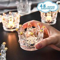 Kerzenhalter Krone Kristall Kerzenständer Dekoration Becher Glas Home Wohnzimmer Tisch Kerzenständer Nordic