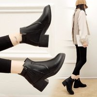 Boots teddy boots women's black leather toe round zipper winter woman high-heeled shoes ankle ladies NYQ9