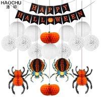 """Decorazione di halloween fai da te set 12 """"rotondo carta lanterna nera arancione arancione bar a barre festa party waves appeso spider neavecomb tissue pompom y0909"""