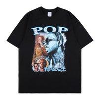 Ícone escuro Palácio Palácio Vida Rapper Rapper Personagem de Caráter Retro Maré Maré Meia-mangas Hip-hop Solto de manga curta T-shirt masculino