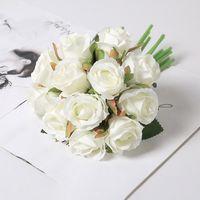 Yumai 12 testa di seta rosa rosa fiori bouquet artificiale sposa sposa damigella d'onore rose fiore per centrali da sposa tavolo decorazioni da tavolo 207 S2
