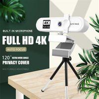 Webcam 4k 2K Full HD Mini Camera Autofocus Zoom 120° Live Streaming Widescreen Webcams Office Conferencing PC Cameras 4 K