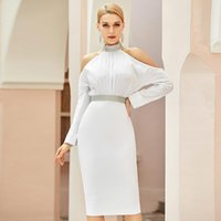 Casual Dresses Lftassoat Winter Women White Off Shoulder Bodycon Bandage Dress Sexy Long Sleeve Backless Midi Celebrity Runway Party