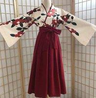 Kimono sakura fille japonais style floral impression vintage robe femme orientale camélia amour costume haori yukata asiatique vêtements