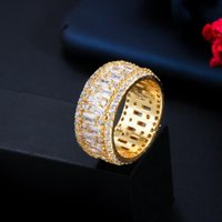 Cluster Rings Luxury Full Cubic Zirconia Paved Yellow Gold Color Big Round For Women Engagement Wedding Band Jewelry R171