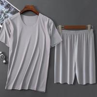 Men's Sleepwear Men Ice Silk Pajamas Solid Shirt&Pant 2PCS Pijamas Sleep Set Casual Male Home Clothes Summer Pyjamas Nightwear 4XL