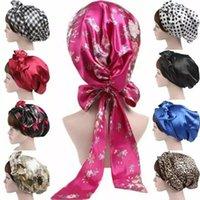 Beanie Skull Caps 3pcs lot Women Soft Silk Satin Bonnet Long Tail Wide Night Hair Hat For Natural Curly Sleep Cap Braids Head Cover Wrap
