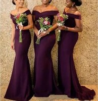 Grape Satin Mermaid Bridesmaid Dresses Saudi African Off The Shoulder African Maid Of Honer Dress Back Zipper Wedding Guest Gown