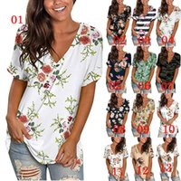 Women T Shirts Print Casual Tops V Neck Short Sleeves Tees 19colors T-Shirt DHL Shipping