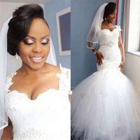 African Wedding Dresses Mermaid Puffy Skirt Cap Sleeve Black Women Bridal Gowns Vestido De Noiva Sereia Com Manga