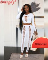 Women's Two Piece Pants Wholesale Items Bulk Lots Summer Hollow Out 2 Set Pant Sets For Women Fashion Solid Long Sleeve Top Outfits Clothing