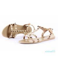 Women Rivets Bowknot Flat Slippers Girls Flip Flops Summer Shoes Cool Beach Jelly Shoes Dropshipping