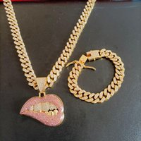 Earrings & Necklace Hip Hop 1 Set 15mm Heavy Miami Iced Out Paved Crystal Cuban Chain Cz Bling Raper Pink Drip Lip Pendant Bracelet Jewelry