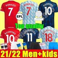 Manchester Soccer Jersey 2021 2022 United Ronaldo Sancho Pogba Cavani Martial Utd Van de Beek B. Fernandes Rashford Lingard Football CHirt 21 22 Women Man Kids Kit