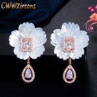 Designer naturale Shell Flower Cubic Zirconia Stone Big Long Long 585 Orecchino Goccia in oro rosa per le donne Gioielli alla moda CZ624 210714