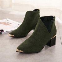 Cootelili Botines Mujer Ankle Boots для женщин Черные основные модные замшевые сапоги кожаные женские заостренные ноги T2DX #