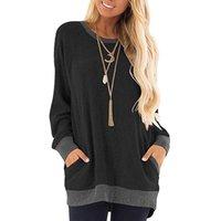 Женщины Блузки Рубашки Весна Женщины Плюс Размер Туника Топы Свободные TEE Рубашка с карманами Случайные Карманные Карманные Карманы Случайная Блузка с длинным рукавом Мода Женщина 2021