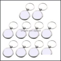 Keychains Fashion Aessorieskeychains 10Pcs Sublimation Blanks Rec Transfer With Metal Round Key Rings For Heat Press Drop Delivery 2021 9Uyy