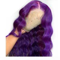 Longa peça profunda onda corporal roxo renda dianteira peruca parte sintética peruca de renda completa para mulheres resistentes a calor peruca sem gludo