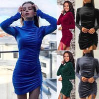 5-color women's casual dress autumn winter fashion long-sleeved dresses solid color tight-fitting one-piece suede drawstring high neck tight skirt S-3XL