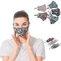 Тонкий печать Цветочные хлопковые моющиеся многоразовые маски рта против пыли дымки Открытый лицевой маски Цветы пылезащитные маски PM2.5
