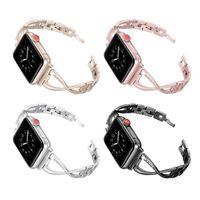 iWatch 7 Applicable Apple watch band apple watch 7 Metal X-shaped diamond watch band iwatch rhinestone steel band 41mm 45mm